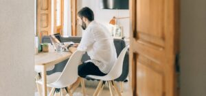 remote worker at home working at table